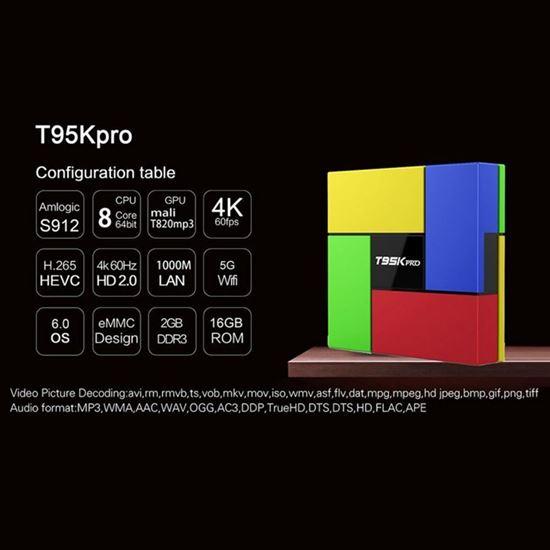 Снимка на Тв Бокс T95K Pro  Андроид 6.0 Amlogic S912 2G/16G 4K H.265