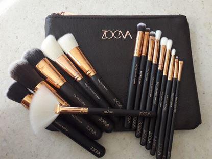 Снимка на Четки за грим Зоева 15бр с чантичка кафяви Zoeva brush set