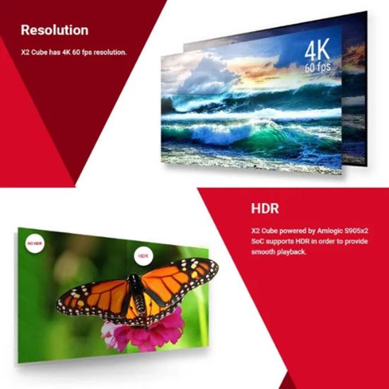 Снимка на Смарт Тв Бокс X2 CUBE Андроид 9 UHD 4K медия плеър Amlogic S905X2 2GB