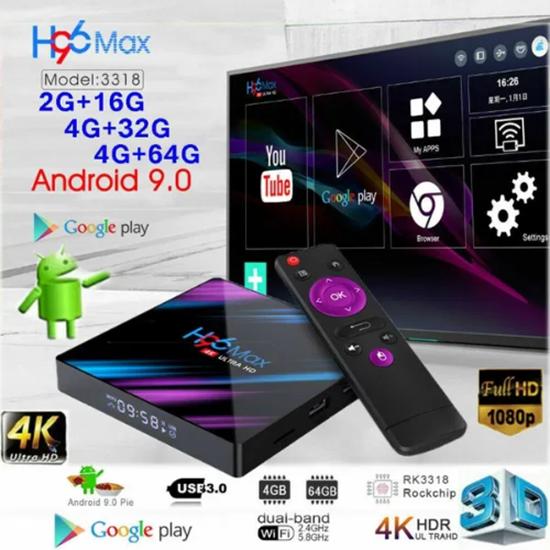 Снимка на Тв Бокс H96 Max с процесор RK3318 4/32 андроид 9.0 Quad Core