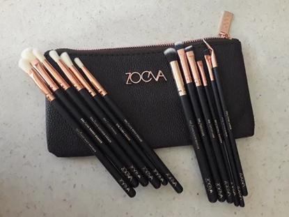 Снимка на Сет четки за грим Зоева 12бр с чантичка кафяво Zoeva brush set
