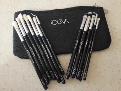 Снимка на Сет четки за грим Зоева 12бр с чантичка черно Zoeva brush set