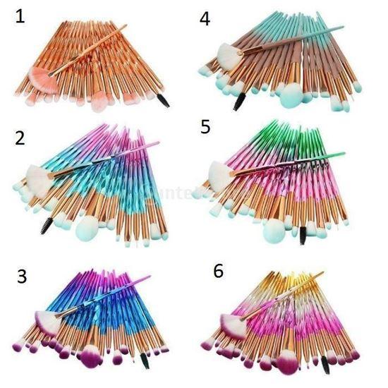 Снимка на 3D четки за грим за диамант 20бр. Комплект четки за пудра - 5