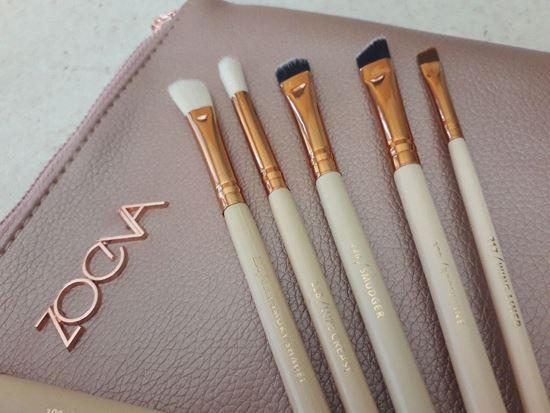 Picture of нов сет четки за грим Зоева 8бр с чантичка розова Zoeva brush set